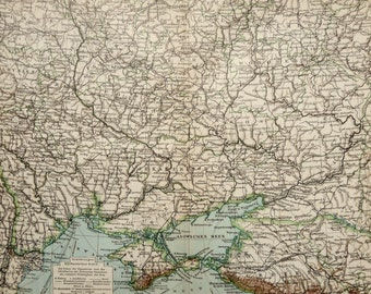 1900 antique map of ukraine 118 years old chart