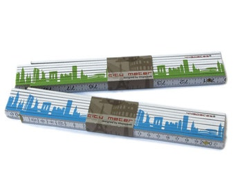 NEW YORK measurement City Meter - bicolor Folder, Pocket Ruler with NYC Skyline green blue, Carpenter Tool, Gift Father Brother Grandpa