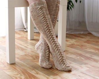 Hand made wool socks Hand knitted Knee high Socks Ivory beige Wool socks Warm winter socks aran socks Cable socks