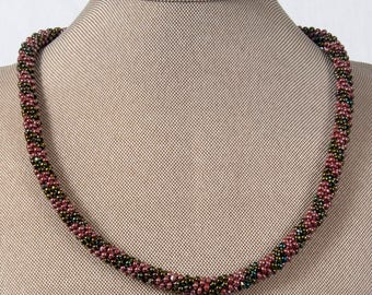 Cranberry Bog Kumihimo Necklace