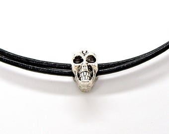 Leather Necklace Skull Bead Lead Free Pewter Black Double Strand Jewelry Pendant Charm