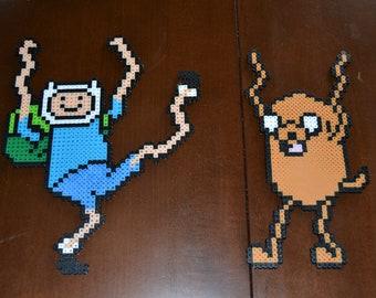 "Adventure Time ""Finn"" and ""Jake"" Dancing/Finn the Human/Jake the Dog Perler Sprites/Cartoon Network fan art/ Adventure time birthday decor"