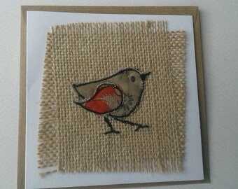 Original Textile Art Garden Bird Card