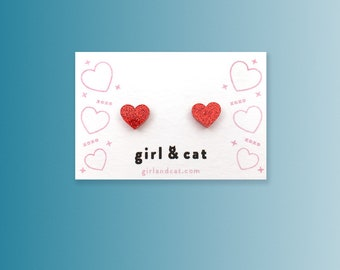 Red Heart Earrings, Tiny Stud Earrings, Dainty Earrings, Girlfriend Gift, Bridesmaid Jewelry, Valentines Day, Best Friend Gift for Her