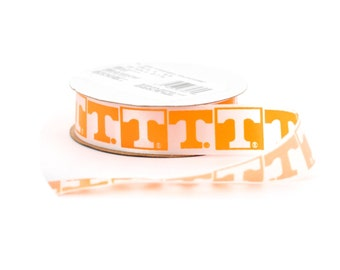 "7/8"" University of Tennessee Volunteers Ribbon, NCCA ribbon  Offray College Ribbon - 9 FEET"