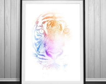 Tiger Print, Tiger Poster, Extra Large Wall Art, Tiger painting,Free Shipping Tiger Head Colorful Poster, Animal Art,Original Art home decor