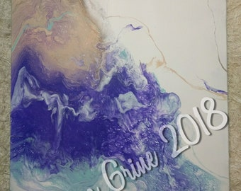 Purple, Teal & Tan Pour Painting