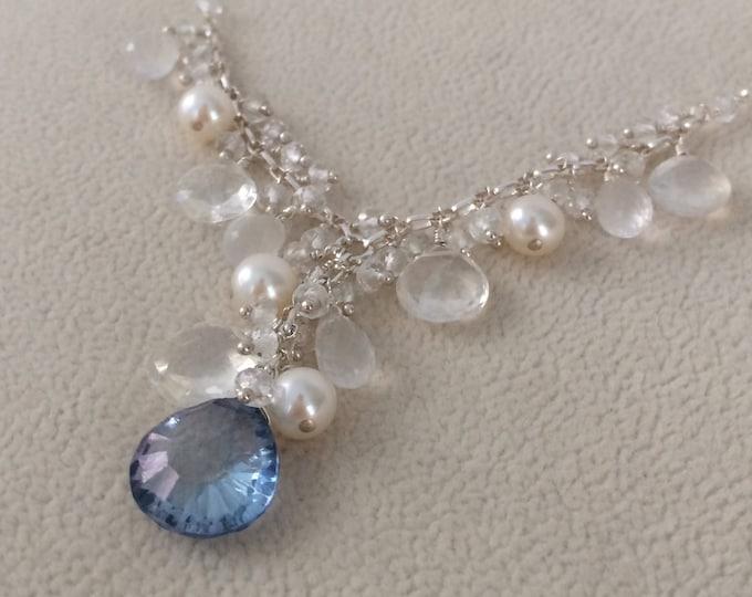 Semiprecious Gemstone Bridal Necklace in Sterling Silver, Mystic Blue Topaz, Freshwater Pearls, Rock Crystal, Rainbow Moonstone