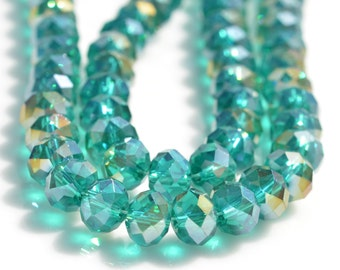 70 Green Faceted Crystal 6 x 8mm Rondelle Beads BD228
