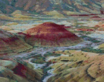 Oregon Painted Hills landscape Cross Stitch pattern PDF - Instant Download!