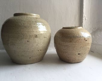 Two Antique Rustic British Natural Pottery Ginger Jars London England 1880's