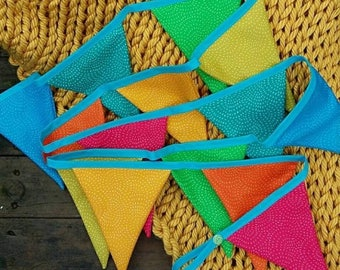 Rainbow bunting - party - celebrate - room decor - triangle bunting - fabric bunting