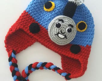 Thomas the Train Crochet Hat-Crochet Thomas the Train hat- Toddlers Children Boys-Blue Train Earflap Hat - MADE TO ORDER