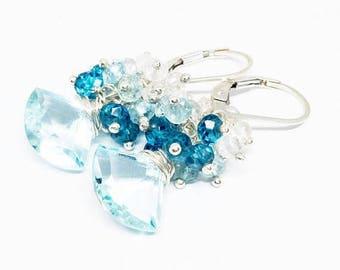 25% OFF Aquamarine and Quartz Gemstone . Sterling Silver Dangle Fan Cluster Earrings . Turquoise Blue , Aqua Blue, London Blue Ombre . E1400