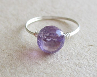Amethyst gemstone briolette wire wrapped ring - size 5 3/4