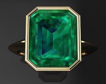 maddox ring – 3.3 carat emerald green NEO moissanite ring, bezel set ring