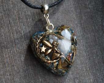 Fairy Moon Orgonite® pendant LOVE Heart with Avalonite