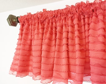 Coral Valance - Coral Ruffle Curtains - Coral Curtain - Kitchen Valance Window Treatments- Sheer Valance- Short Curtain Small Window Valance