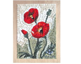 Mosaic kit DIY Poppies Stained glass mosaic tiles - Mosaics wall art - Craft kit for adults - Birthday/Wedding/Anniversary gift ideas women