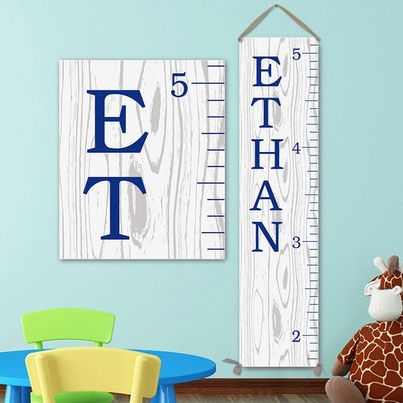 Growth Chart Ruler - Personalized Canvas Growth Chart, Growth Chart Navy, Wood Growth Chart Style, Boy Growth Chart - GC0113N_170Ang
