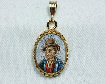Micro Mosaic Portrait Pendant, 14K Gold Filled, Italy, Grand Tour Souvenir Jewelry