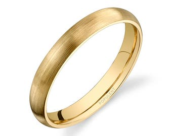 14k Yellow Gold Band (3mm) | PLAIN | Matte Brushed Rounded Dome + Comfort Fit | Men's Women's Wedding Ring
