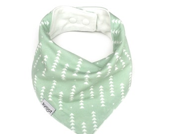 Baby Bandana Bib, dribble bib, baby drool bib, baby scarf bib, toddler scarf bib, toddler drool bib, mint with triangle print