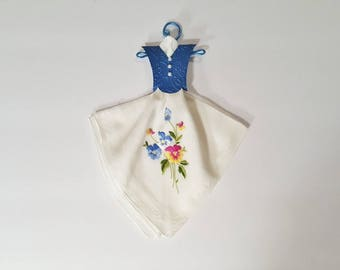 Vintage White Hanky Dress with embroidered flowers and an embossed blue bodice