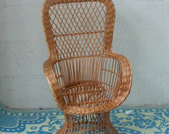 Emmanuelle armchair for child, superb rattan and wicker vintage 1960,