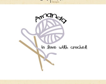 Premade Logo & Watermark // Yarn logo // Crochet logo // Crochet Hooks Logo // Blog // In love with crochet  //Solipandi Design Studio//#034