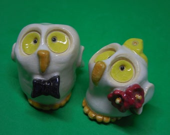 Cake topper, couple of little owls just married, he and she wedding, bride and groom, owls wedding cake romantic decoration