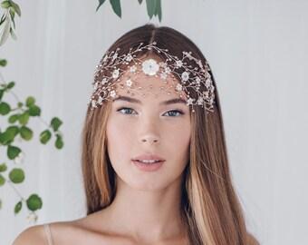 Large wedding hairvine, statement hairvine, bohemian hairvine, boho hairvine, bun wrap, wedding headpiece, dramatic headdress - Katya