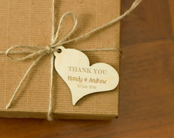 Personalized Wooden Gift Tags Thank You Wedding Tags Natural Wood Tags Custom Wooden Engraved Tags