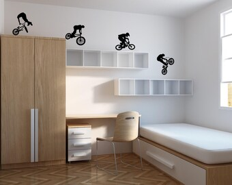 4 x Bmx Riders - Wall Decal - Wall art Sticker - ( Black outline shown )