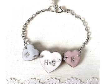 Couple's and Kids Letter Hearts Bracelet