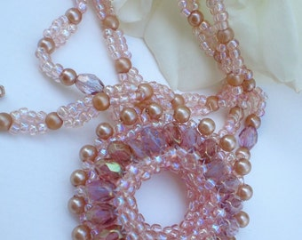 Crystal  Beadwoven Golden  necklace  Unique  Jewelry  Golden Sunrise
