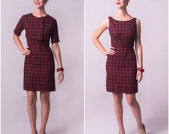 1960's Plaid Vicky Vaughn Wiggle Dress and Bolero Jacket/ 60's Matching Set Cropped Jacket and Dress