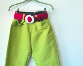 Chompol Serimont Boat Pant...For Her. Circa 1990 Chartreuse sparkle fabric ...