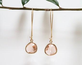 Peach Topaz Earrings - Gold Dangle Earrings - Stone Earrings - Drop Earrings - Birthstone Earrings - Peach Jewelry - Quartz Earrings