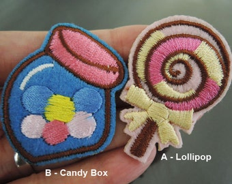 Iron on Patches or Sewing on Patch Lollipop Patch Candy Box Patch Small Embroidered Patch Food Dessert Embellishment