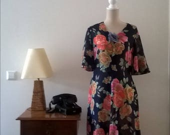 Vintage colorful dress, years 70