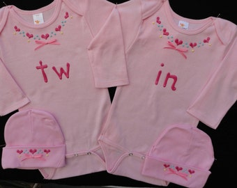 Tw in - Twin Onesie sets, Non Identical Twins, Shower Gift, Hand Painted Onesies, Personalized Onesies