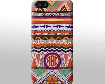 iPhone 6 Galaxy S6 S6 Edge Aztec Pattern, Geometric Monogrammed iPhone 4/4S 5/5S 5C  Galaxy S4 case Personalized phone case