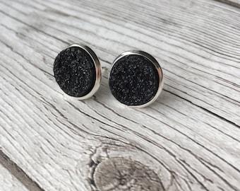 Black faux druzy stud earrings, druzy earrings, faux druzy earrings, black stud earrings, gift for her, alternative earrings, earrings gift.