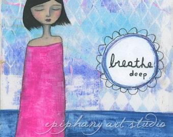 "8"" x 10"" Fine Art Print - ""Breathe Deep"" - Bright Hot Pink Blue Navy Diamonds Colorful, Short Black Hair, Girl Woman She Art, Calm Peaceful"