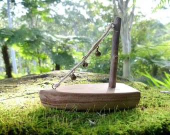 Wooden Fairy Sailboat, Ornamental Miniature Boat with Bells