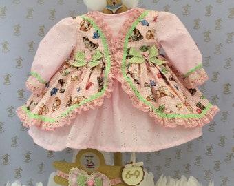 6-9m Baby girls new kitten print handmade dress & headband