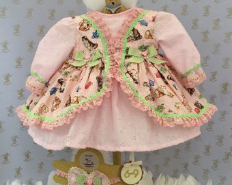 6-9m Baby girls new kitten print handmade dress & headband girl clothes