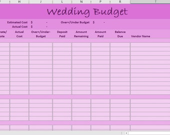 Excel wedding budget | Etsy