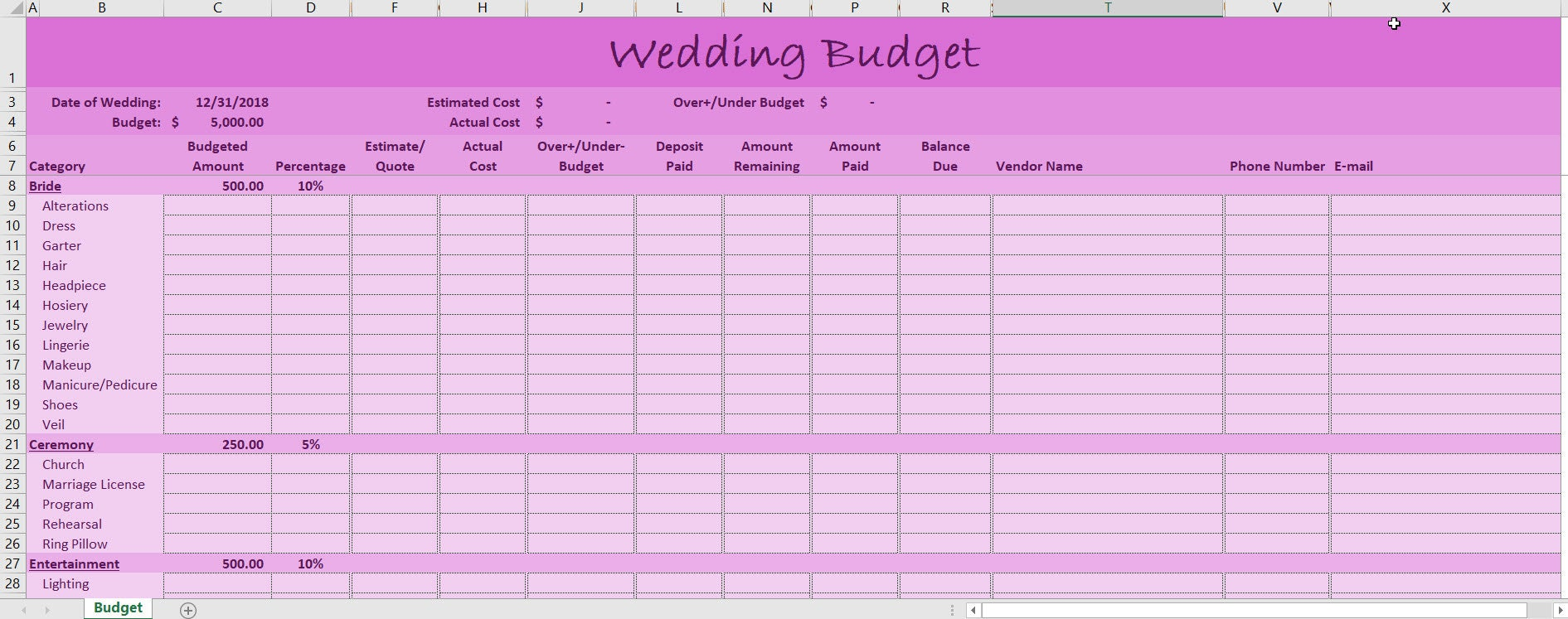 Wedding Budget Excel Template